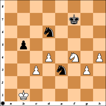 Chess Titans level max.=10 vs. Vitorino Ramos after his 43. Nf4 move