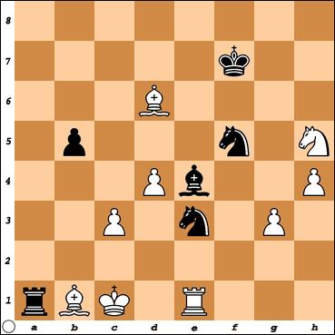 Chess Titans level max.=10 vs. Vitorino Ramos after my 39. ..., Be4
